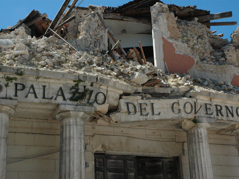 A destroyed building in L'Aquila after the earthquake of 2009