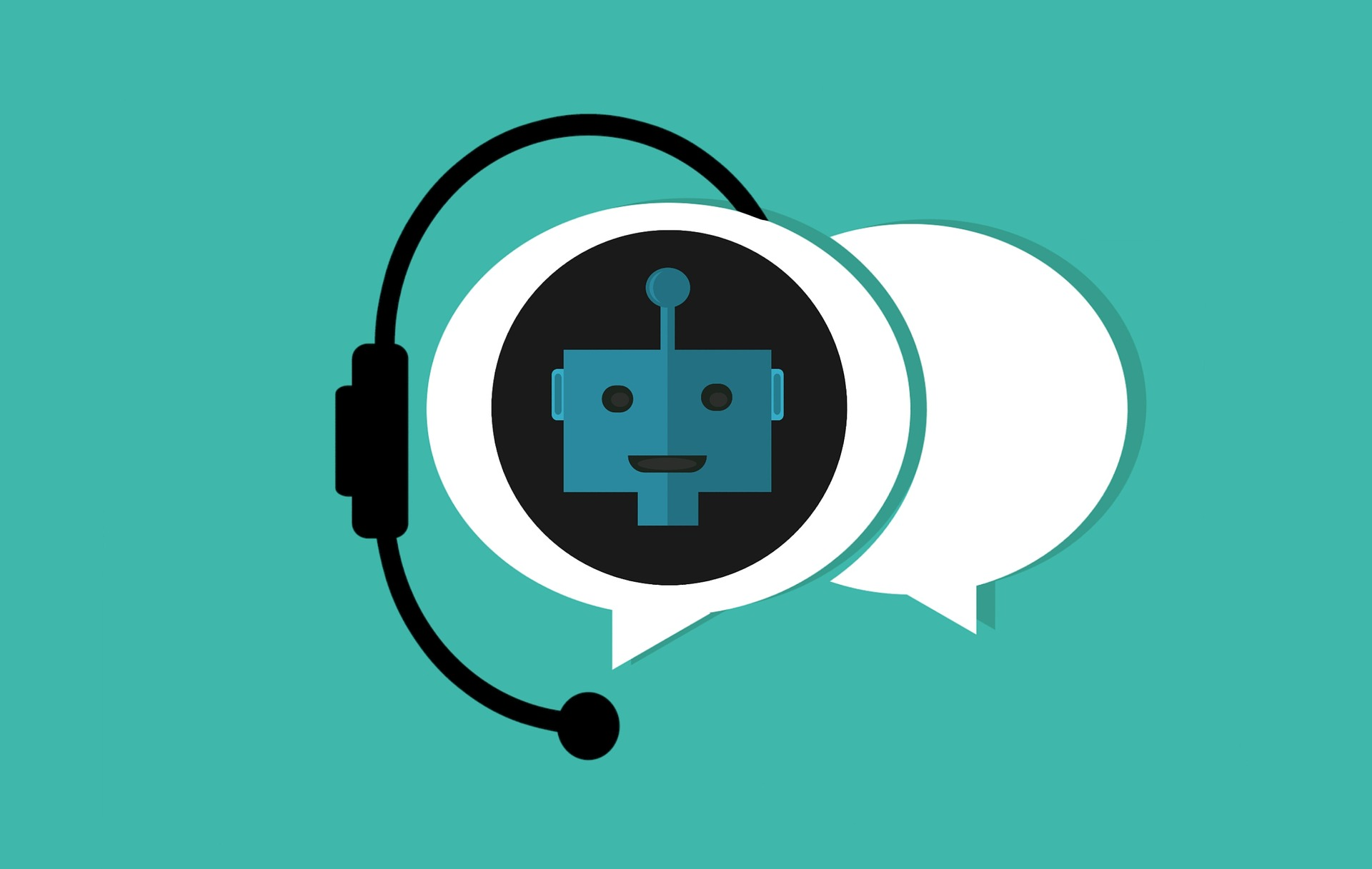 Image of a chatbot with a headset